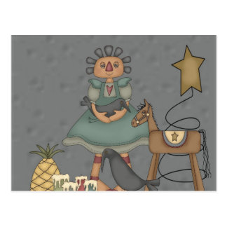Rag Doll Primitive Horse Crow Tin Star Candles Postcard