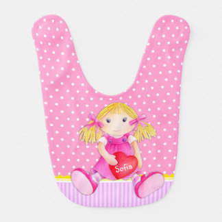 Rag doll watercolor art pink named Baby bib