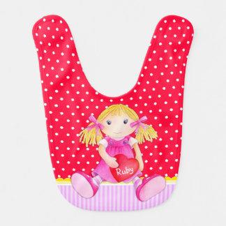 Rag doll watercolor art red pink named Baby bib