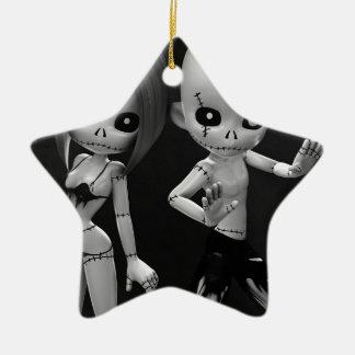 Rag Dolls Couple BW Christmas Ornament