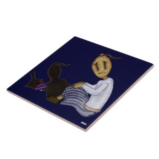 Rag Dolls - The Girl With The Spinning Top Large Square Tile