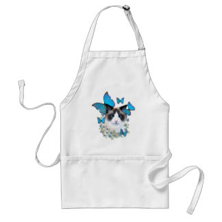 Ragdoll And Blue Butterflies Adult Apron