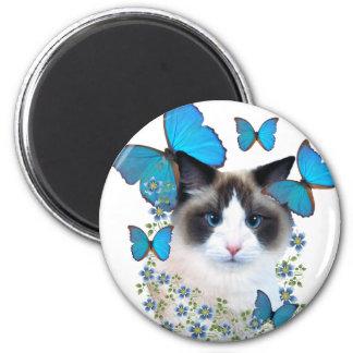 Ragdoll And Blue Butterflies Magnet