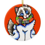 Ragdoll Cat All Dolled Up Double-Sided Ceramic Round Christmas Ornament
