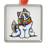 Ragdoll Cat All Dolled Up Square Metal Christmas Ornament