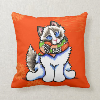 Ragdoll Cat All Dolled Up Throw Pillow