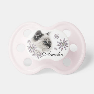 Ragdoll Cat and Flowers Pacifier
