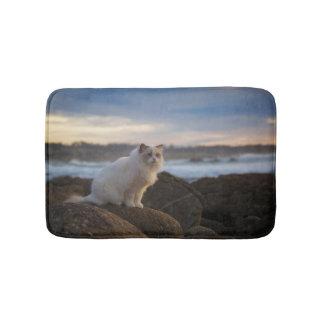 Ragdoll Cat At The Beach Bathroom Mat