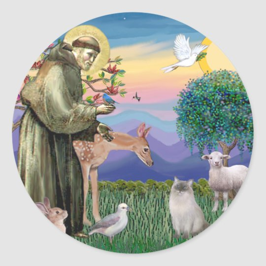Ragdoll Cat (Blue Point) and Saint Francis Classic Round Sticker