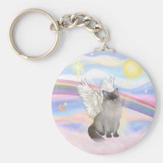 Ragdoll Cat (Blue Point) Angel - Clouds Basic Round Button Keychain