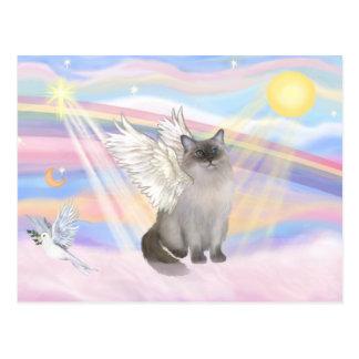 Ragdoll Cat (Blue Point) Angel - Clouds Postcard