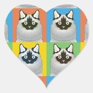 Ragdoll Cat Cartoon Pop-Art Seal-Point Heart Stickers