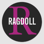 Ragdoll Cat Monogram Design Classic Round Sticker