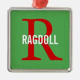 Ragdoll Cat Monogram Design Christmas Ornament