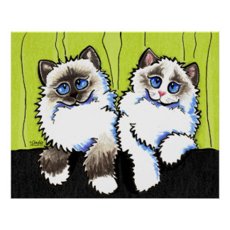 Ragdoll Cats Pair of Dolls Off-Leash Art™ Poster