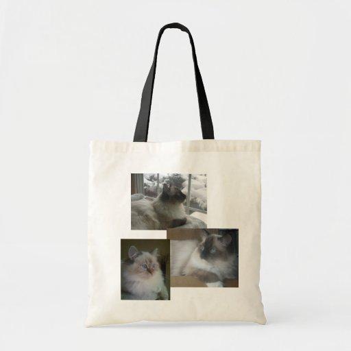 Ragdoll Himalayan Cat Kitty Christmas Collage Tote Canvas Bag
