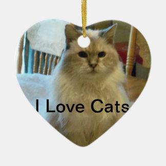 Ragdoll I Love Cats Heart Ornament