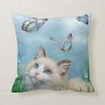 Ragdoll Kitty And Butterflies Art Decorator Pillow