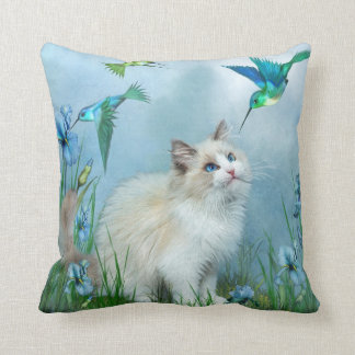 Ragdoll Kitty And Hummingbirds Art Designer Pillow
