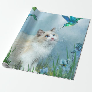 Ragdoll Kitty With Hummer Art Gift Wrap