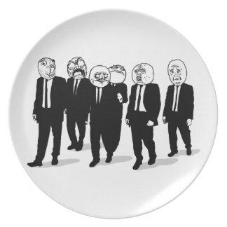 Rage Comic Meme Faces Walking. Me Gusta. Melamine Plate