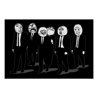 Rage Comic Meme Faces Walking Me Gusta Poster