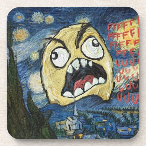 Rage Face Meme Face Comic Classy Painting Drink Coaster