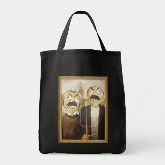 Rage Face Meme Face Comic Classy Painting Grocery Tote Bag