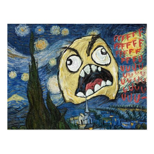Rage Face Meme Face Comic Classy Painting Post Card
