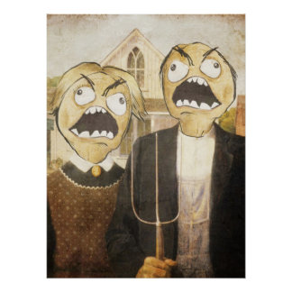Rage Face Meme Face Comic Classy Painting Poster