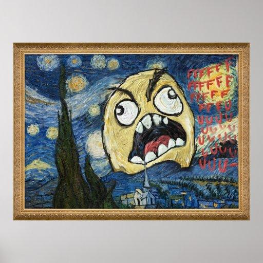 Rage Face Meme Face Comic Classy Painting Print
