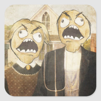 Rage Face Meme Face Comic Classy Painting Square Stickers