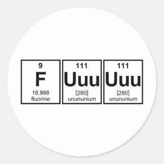 Rage Fuuuuuu Periodic Table Element Symbols Classic Round Sticker