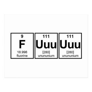 Rage Fuuuuuu Periodic Table Element Symbols Postcard