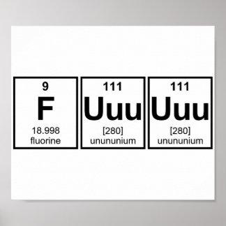 Rage Fuuuuuu Periodic Table Element Symbols Poster