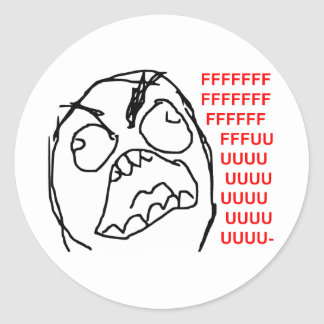 Rage Guy Angry Fuu Fuuu Rage Face Meme Classic Round Sticker