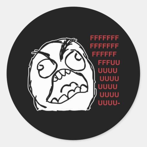 Rage guy fuuu fuuuu round stickers