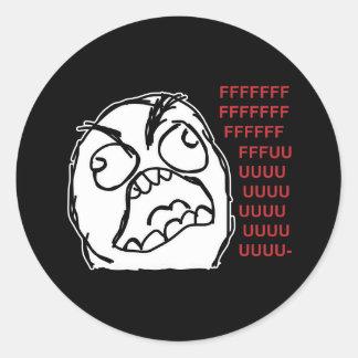 Rage guy fuuu fuuuu classic round sticker