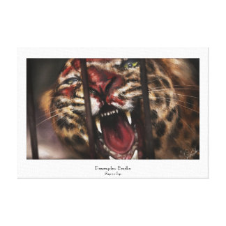 Rage in a Cage jaguar big cat painting art Stretched Canvas Print