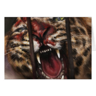 Rage in a Cage jaguar big cat painting art Card