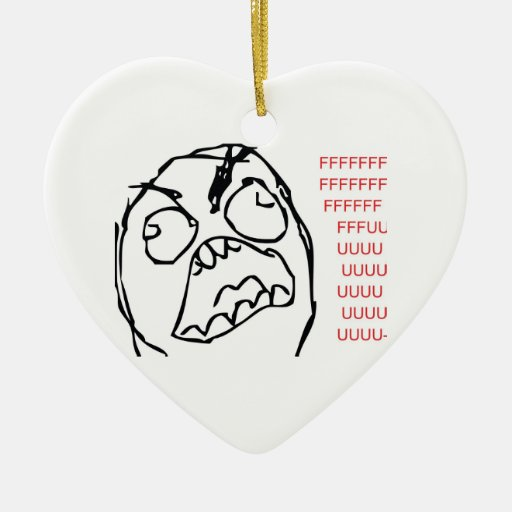 Rage Troll Double-Sided Heart Ceramic Christmas Ornament