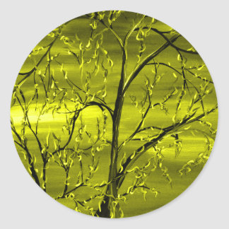 Rage Yellow Abstract Art by Mark Moore Stickers