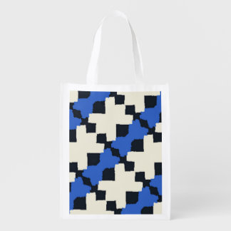 Ragged Edges in Blue and Black Reusable Grocery Bag