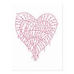 Ragged Heart White Postcard