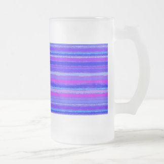 Ragged Rainbow Stripes Purples, Pink and Blue Frosted Glass Beer Mug