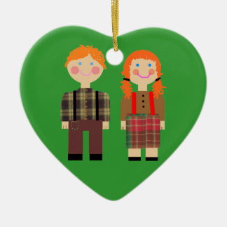 Raggedy Ann and Andy Green Heart Ornament
