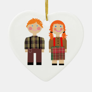 Raggedy Ann and Andy Green n White Heart Ornament