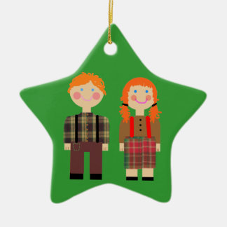 Raggedy Ann and Andy Red & Green Star Ornament