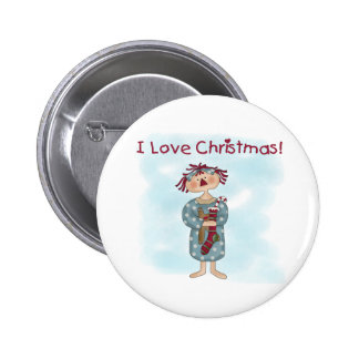 Raggedy Ann Christmas 2 Inch Round Button