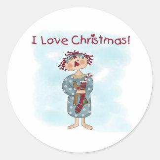 Raggedy Ann Christmas Classic Round Sticker